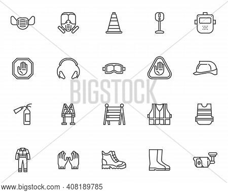 Safety Workwear Line Icons Set. Mandatory Linear Style Symbols Collection, Outline Signs Pack. Prote