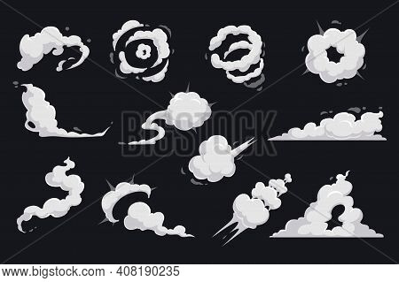 Cartoon Clouds Of Smoke And Explosion Vector Design Of Comic Book. Dust Speed Trail, Cloud Puff And