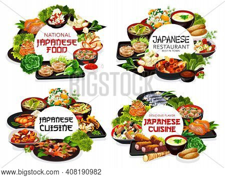 Japanese Cuisine Restaurant Meals Round Banners. Japanese Food Dishes With Seafood, Roast Chicken An