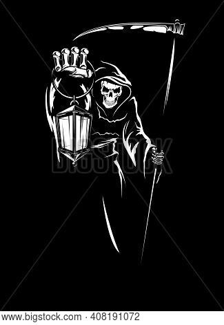 Grim Reaper With Scythe, Death Holding Lantern. Ominously Smiling Human Skeleton In Cowl With Hood,