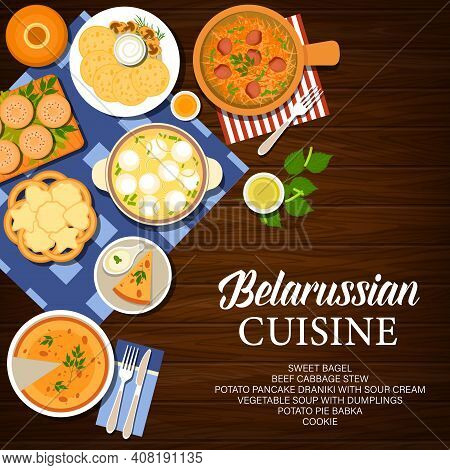 Belarus Cuisine, Belarussian Food Dishes And Meals, Vector Restaurant Menu Cover. Belarusian Cuisine