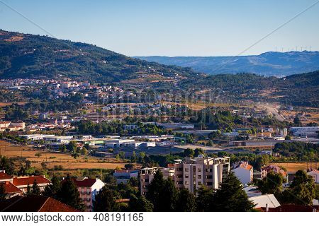 Aerial View Of Portuguese Town Covilha And District Castelo Branco. View From Mountains Serra De Est