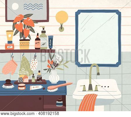 Shelves With Toiletries, Shampoo Bottles, Cosmetics And Flowers Near Mirror And Washbasin. Cozy Bath