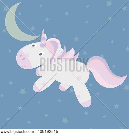 Cute Little Unicorn Flying Through The Night Sky