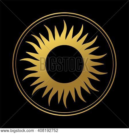 Abstract Boho Hand Drawn Illustration, Golden Sun In A Round Frame On A Black Background. Graphic Lo