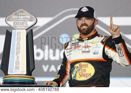 February 12, 2021 - Daytona Beach, Florida, USA: Austin Dillon (3) wins the Bluegreen Vacations Duel 1 at DAYTONA at Daytona International Speedway in Daytona Beach, Florida.
