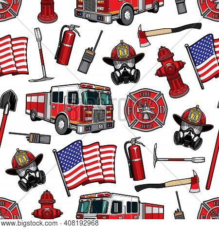 Firefighting Vector Seamless Pattern, Firefighter Department Equipment Red Protective Helmet And Gas