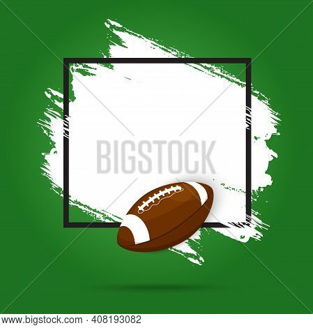 Rugby Football, American Sport Ball And Tournament Cup Vector Background Poster Or Flyer. Rugby Leag