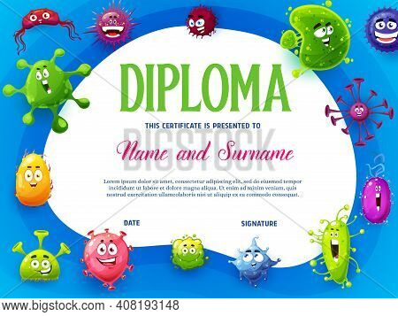 Kids Diploma With Viruses And Microbes Cartoon Characters. Funny Germs, Bacteria And Pathogen Micro