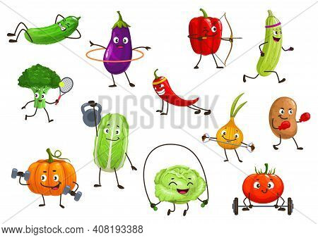 Vegetables Sportsmen, Isolated Vector Broccoli, Squash And Onion, Potato, Bell Pepper And Eggplant W