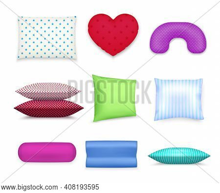Heart Roll Square And Contour Cervical Pillows Realistic Colorful Set With Travel Neck Cushion Isola