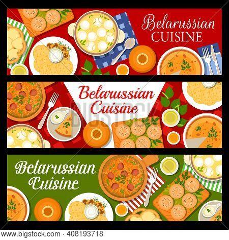 Belarussian Cuisine Food Banners, Belarusian Dishes And Restaurant Menu, Vector. Belarus Traditional