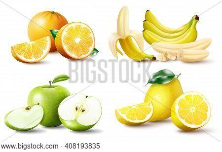 Set Of Realistic Juicy Fruits Apple, Banana Orange, Lemon. Whole And Halved Fruits, Fruit Wedges. Hi