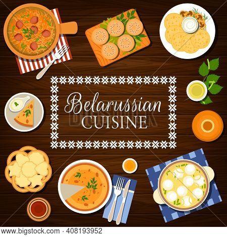 Belarusian Cuisine Food, Belarussian Dishes Menu Cover For Restaurant, Vector. Belarus Traditional F