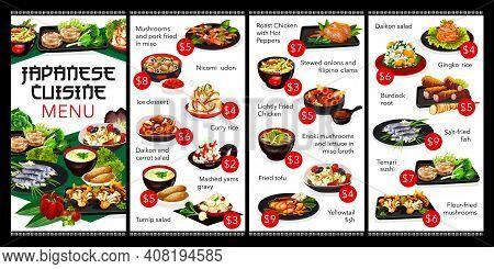 Japanese Cuisine Restaurant Menu Cover. Japan Meals Menu With Seafood, Rood Vegetable Salads And Kak