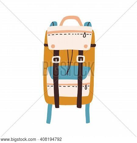 Modern Colorful Backpack With Straps And Pockets Isolated On White Background. Travel Or Hiking Bag.