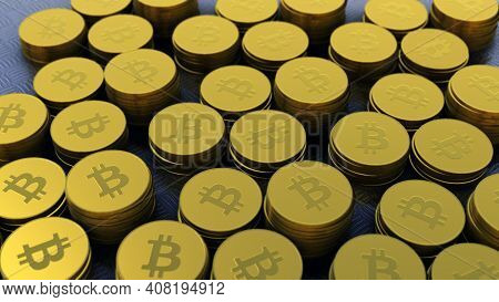 Gold Colored Bitcoins ,crypto Currency, Bit Coin.btc Currency, Business And Technology Concept, 4k H