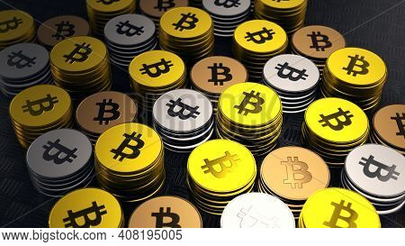 Macro Shot Of Gold, Silver & Bronze Bitcoins, Crypto Currency, Btc Currency, Business And Technology