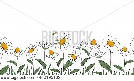 Seamless Border Of Daisies Hand Drawn In Simplified Children Cartoon Naive Style On White Background