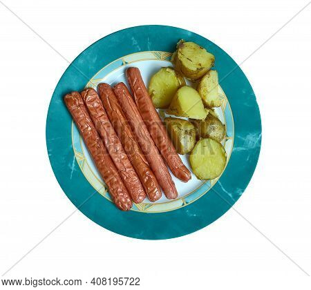 Rode Polse - Danish Equivalent Of American Hot Dog, Served With  Potato
