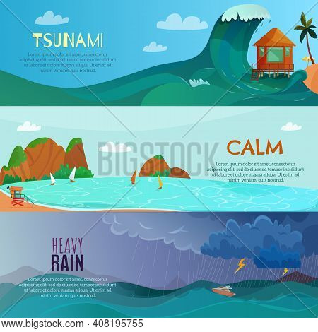 Seaside Landscapes Horizontal Banners Set With Heavy Rain Symbols Flat Isolated Vector Illustration