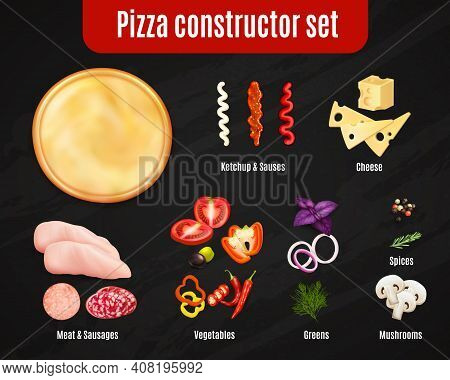 Pizza Constructor Realistic Set On Black Background With Dough And Ingredients For Topping Isolated