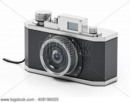 Vintage Analogue Slr Camera Isolated On White Background. 3d Illustration.