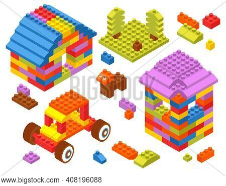 Children Toy Constructor Isometric Composition With Tractor Tower House Dog From Colorful Building B