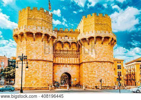 Towers Of Serranos In  Valencia . Spain.