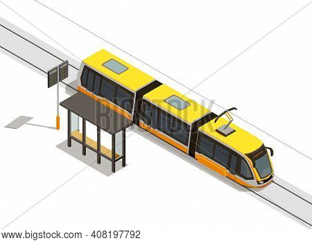 Public City Transport Isometric Composition With View Of Streetcar Line And Rolling Stock With Trans