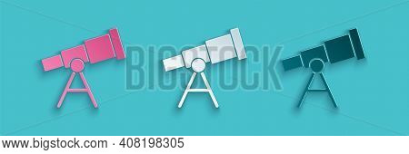 Paper Cut Telescope Icon Isolated On Blue Background. Scientific Tool. Education And Astronomy Eleme