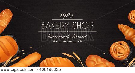 Realistic Bread Bakery Composition With Bakery Shop Homemade Bakery Description And Set Of Bread Vec