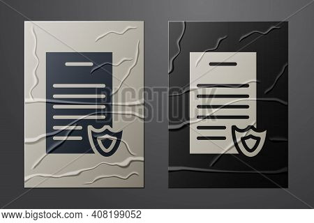 White Firearms License Certificate Icon Isolated On Crumpled Paper Background. Weapon Permit. Paper