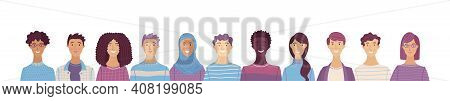 Group Portrait Of Diverse People. Smiling Men And Women Standing Together. Web Banner With Happy Stu