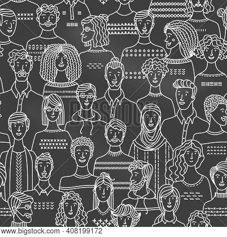 Crowd Of Various Men And Women In Linear Style. Vector Blackboard Background With Various People. Ch
