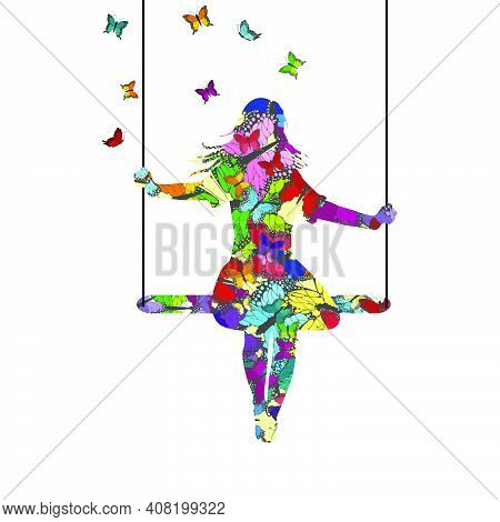 Abstract Colorful  Young Woman Silhouette Who Is Swinging And Butterflies Fly Around Her