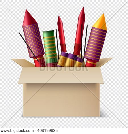 Realistic Pyrotechnics In Box Composition With Different Sparklers And Sticks Of Bengal Lights Insid