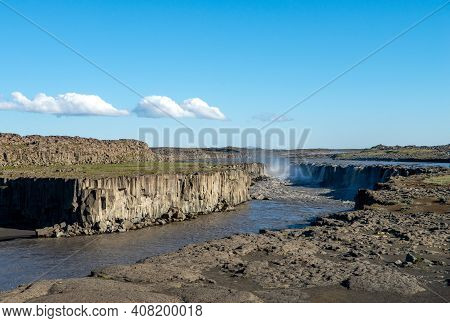 Dettifoss Is The Most Powerful Waterfall On Iceland . It Is Located In Jokulsargljufur National Park