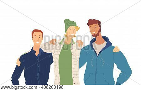 Male Friends, Embracing Guys Group Flat Vector Illustration. Friendship, Family, Friendly Relationsh