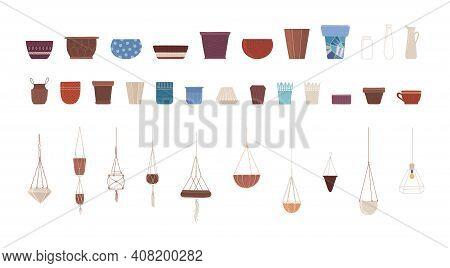Ceramic Pots Flat Vector Illustrations Set. Clay Flowerpots And Glass Vases, Interior Design Element