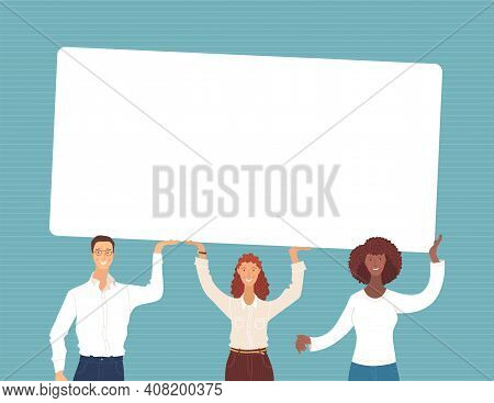 Businesspeople Holding Empty Banner Together Vector Illustration. Teamwork, Partnership, Mutual Assi