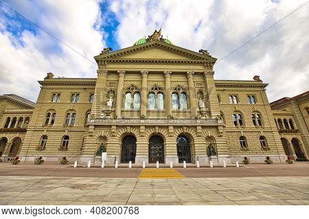 Federal Palace Facade In Bern, Switzerland. Swiss Parliament Building In Bundesplatzn Square. Landma