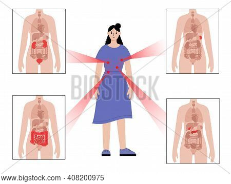 Pain In Internal Organs In The Woman Body. Problem With Kidney, Pancreas, Intestine And Spleen In Fe