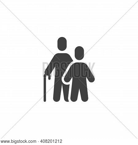 Grandfather With Grandson Vector Icon. Filled Flat Sign For Mobile Concept And Web Design. Grandad A