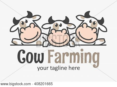 Cute Cow Farming Logo With Three Funny Calfs. Market Cow Icon. Farmer Sign.