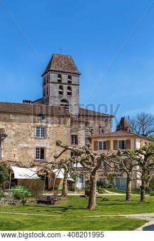 View Of Saint-jean-de-cole Village With Church Tower, Dordogne Departement, France