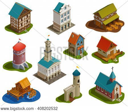 Medieval Sttlement Architecture Isometric Buildings Set With Castle Church Tower Bridge Water Mill F