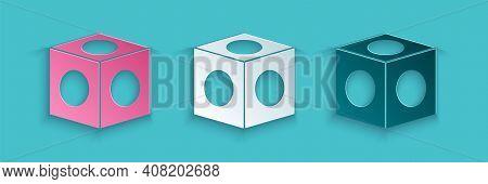 Paper Cut Billiard Chalk Icon Isolated On Blue Background. Chalk Block For Billiard Cue. Paper Art S