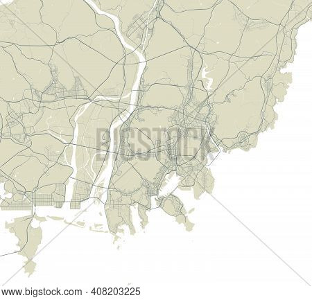 Detailed Map Of Busan City Administrative Area. Royalty Free Vector Illustration. Cityscape Panorama
