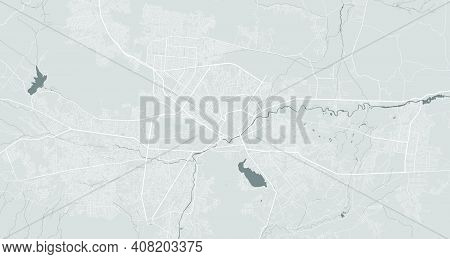Urban City Map Of Kabul. Vector Illustration, Kabul Map Grayscale Art Poster. Street Map Image With